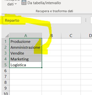 Esempio uso casella nome Excel